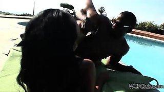 Rihanna fucks a dick by the swimming pool