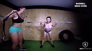 Anissa Kate & Cassie Fire in Barbell workout - ButtFormation
