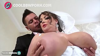 Busty brunette bride fucks big cock