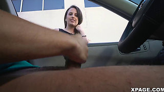 Flashing my cock for cute girl who watches me cum