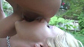 Smoking hot milfs have a threesome outdoors