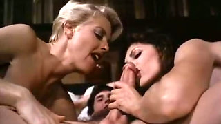 Cock hardening retro threesome with two curvaceous hairy MILFs