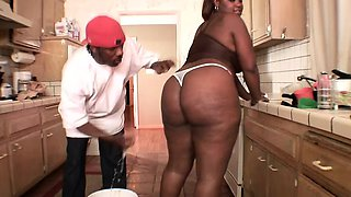 Horny BBW cocksucker with giant nipples engages in ebony oral play
