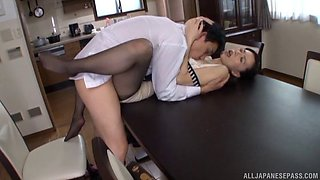 Nice fucking on the kitchen table with an amazing Japanese wife