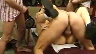 Tight Arabian girl enjoys a gang bang fuck in the gym