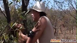African abused and forced to take cock outdoors