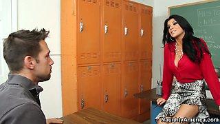 Fabulous brunette teacher Romi Rain gets horny for her student