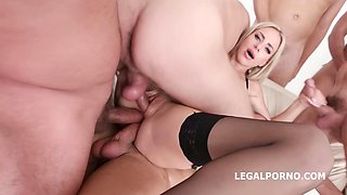 Hot, blonde woman in black stockings and garter belt, Natalie Cherie is having group sex