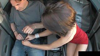 Long car ride with a cute brunette ends up with a nice little handjob