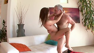 Old man loves young ass of daughter-in-law bouncing on his dick