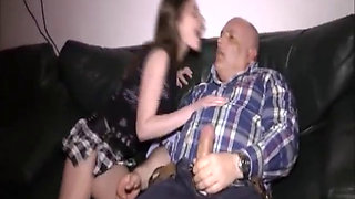Grizzly old pervert fisting her wrecked teen twat