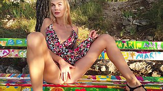 Skinny blonde reveals her romantic way of masturbating