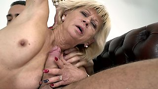Old blonde lady sucks young dick and gets her mature cunt nailed