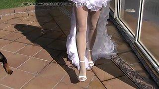 playing a bride pantyhose