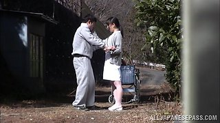 Horny Japanese nurse sucks cock in front of a voyeur