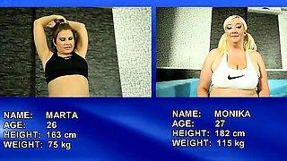 Fat Marta vs Monika wrestling and loosing clothes