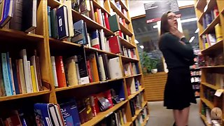 Cute Brunette Exhibitionist Flashing At The Bookstore
