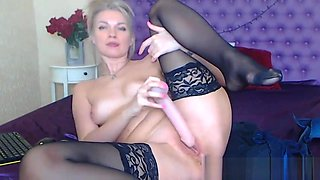 Horny Blonde Babe Plays Her Pussy