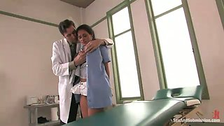 Kinky doctor fucks sweet looking nurse with massive impressive pierced boobs