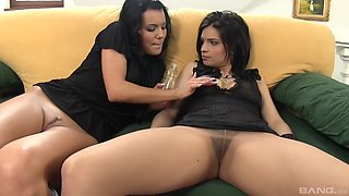 Kinky brunette girl likes to masturbate with a friend more than anything