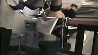 Girl in stockings and heels is under voyeur medical exam