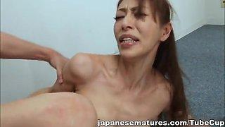 Sanae Asou hot mature Asian babe in police costume fucks behind bars