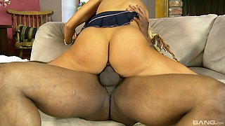 Keeping her skirt on as she gets rammed by a black dude