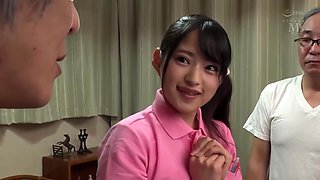 Slim Japanese Teen blows old men and collects their semen to swallow