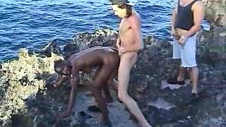 African hairy girl fuck 2 guys on the rocks