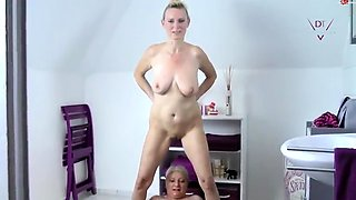 Kinky granny has a busty cougar filling her mouth with piss