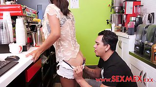 Mexican girl banged behind counter