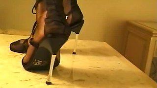 She teases in erotic sheer stockings