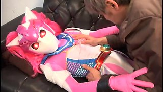 Kinky Oriental babe in a funny costume gets drilled hard