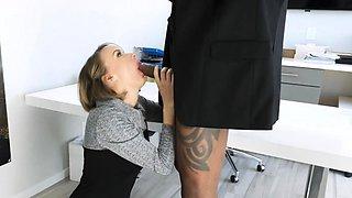 Big tit boss milks studs BBC on job interview