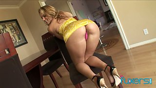 Bootylicious ardent blondie is so into riding massive black cock on top
