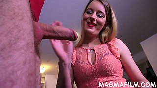 Crossdresser in red leotard gives a rimjob to horny mistress Melody Pleasure