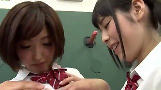 Japanese girls with fantastic nipples sharing sperm