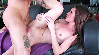 A step sister fucks her step brother in the living room