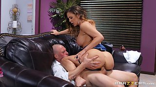 curvy milf gets fucked on a leather couch in the office