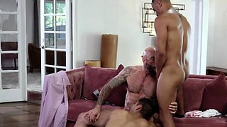 Hunk guys Zario and Calix analed by stepdad Drew in steamy 3