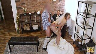 Cuckold groom watches slutty bride riding his best friend on top