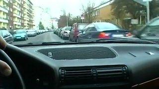 Busty Euro Amateur Masturbating in Car