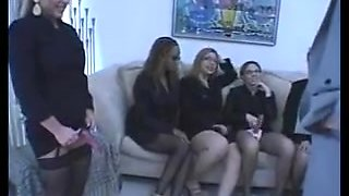Four breasty MILFs acquire jointly to play with thong ons