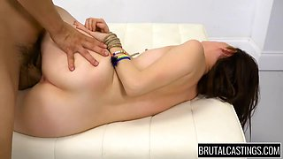 Hardcore Sex And Cumshot For Young Brunette - Brutal Casting And Lucie Cline