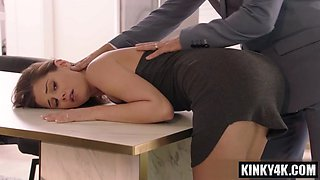 Brunette cowgirl spanking and creampie