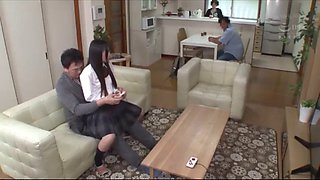 Japanese Schoolgirl Secretly Fucked In Front Of Her Family While Sitting On Uncle&#39s Lap Full Uncut Video: