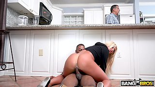 cheating wife riding a black cock in the kitchen