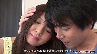 Pretty Japanese cutie Aya Eikura gonna get her shaved pussy drilled mish