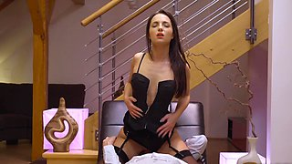 Gorgeous hottie in sexy lingerie tries anal for the first time