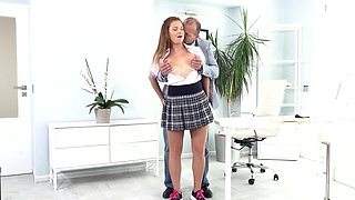 Smart Czech coed with tanned body makes sex deal with teacher